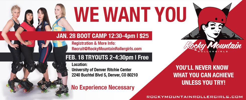 Rocky Mountain Rollergirls Bootcamp and Tryouts Announced